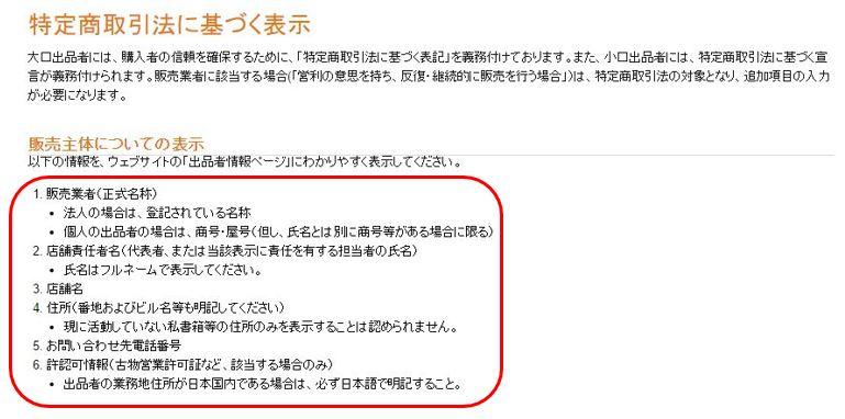 Amazon特定商取引法に基づく表示4